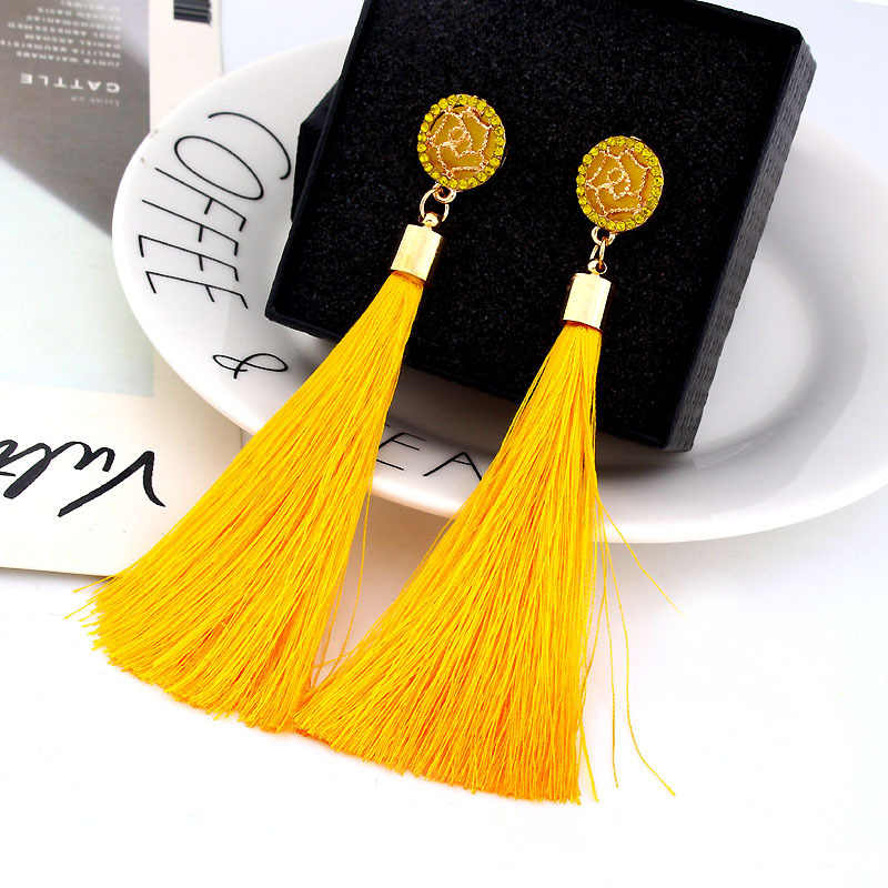 Boho Dangle Fringe Earing Vintage Ethnic Statement Tassel Earrings Bohemian Long Exaggerated Rose Flower Drop Earrings For Women