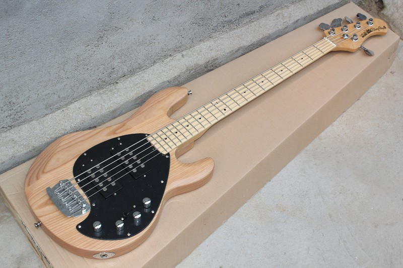 Free Shipping Nature Ash Wood Body Maple Fretboard Music Man Sting Ray 5 String Bass Electric Guitar active pickup 7 7 white ashwood high quality 5 string bass guitar with active pickup