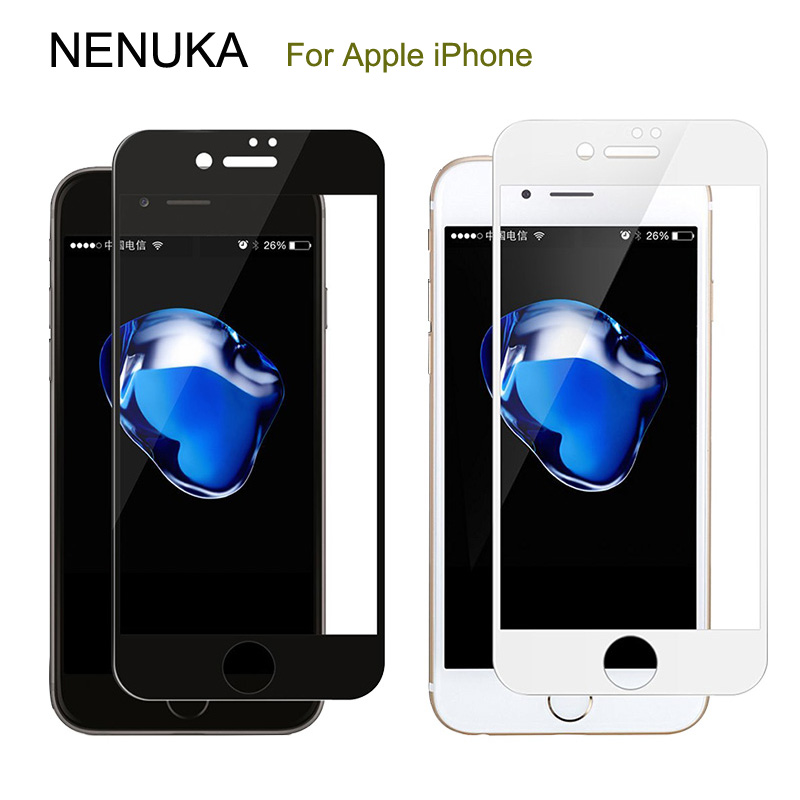 Black White Full Cover Screen Protector For iPhone 7 6 6S