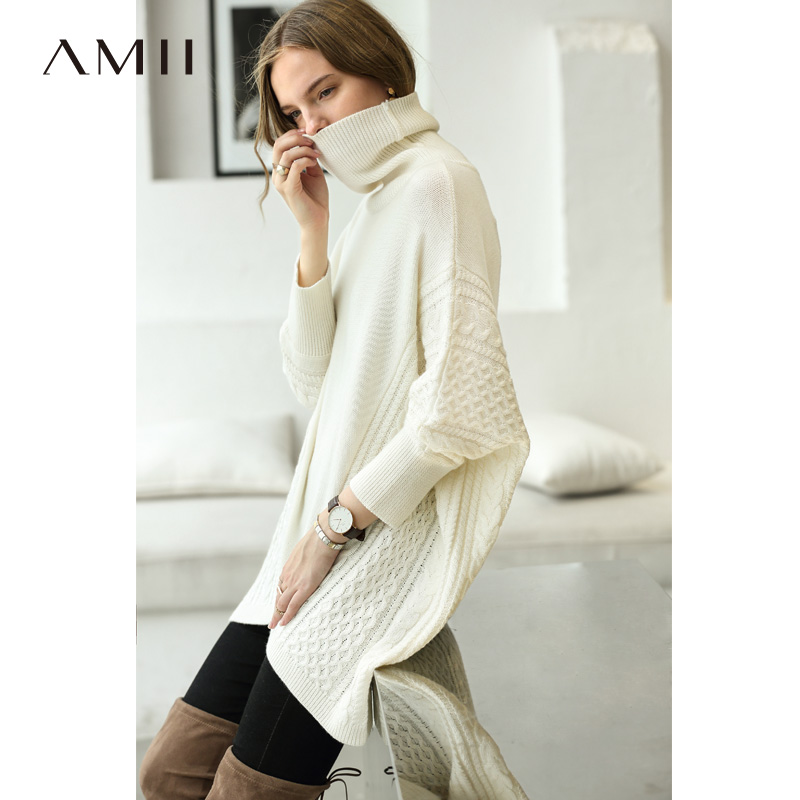 Amii Minimalist Women Cape Sweaters Winter 2018 Casual Solid Loose Patchwork Pullovers Female Turtleneck Knitted Long