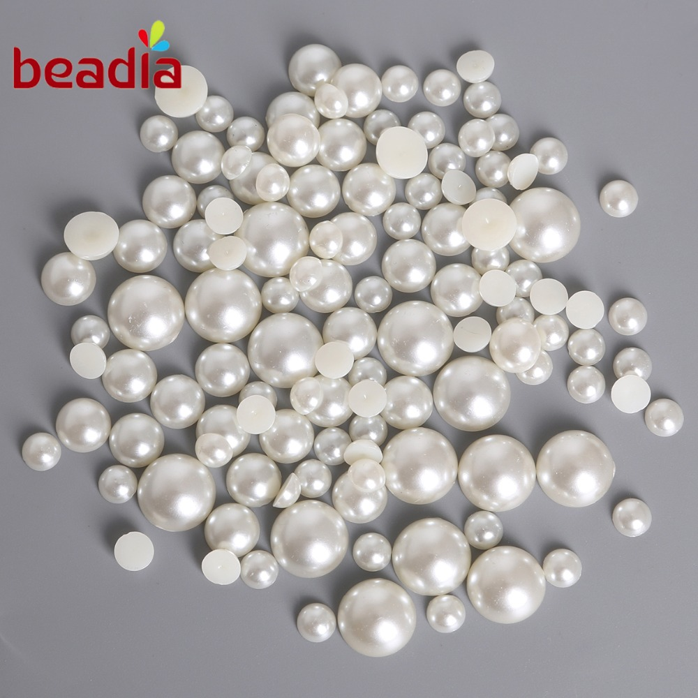 Pearl Beads: Flat Back Dia 1.5 14mm Imitation ABS Pearl Beads White