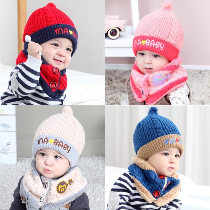 2pcs/set Kids Winter Warm Hat Scarf Set Cute Baby Knitted Woolen Pointy Cap for Children Neck Warmer Boys Girls Beanie Bonnet