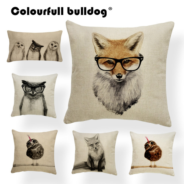 Hand Painted Cushions Vintage Animal Owl Fox Gles Feather Pillow Cushion For Sofa With Cover