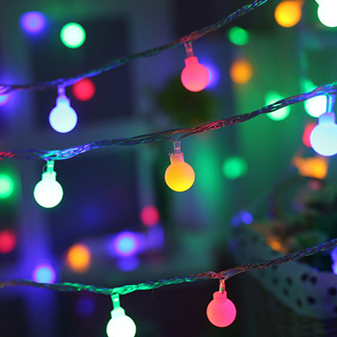 LED Garland Balls Outdoor String Lights Battery 10 Festoon Light Bulbs Flash Warm White Colorful