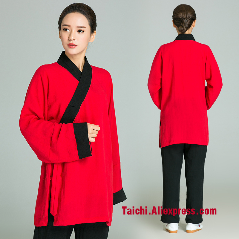 Surplice Handmade Linen Tai Chi Uniform Women  Female Kung Fu martial Art Suit Chinese Stlye Sportswear Red Jacket black Pants 2016 chinese tang kung fu wing chun uniform tai chi clothing costume cotton breathable fitted clothes a type of bruce lee suit