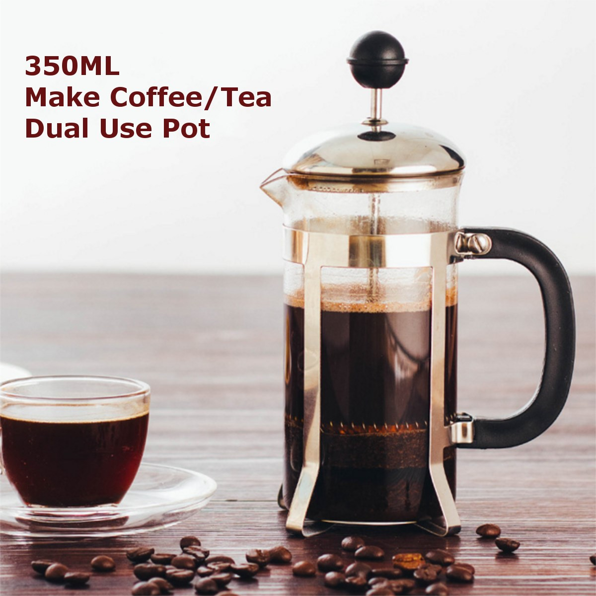 Glass Coffee Tea Pot Press Plunger 350ml Water Kettle Cafetiere French Filter Flower Jug Home Brewing Tools In Kettles From