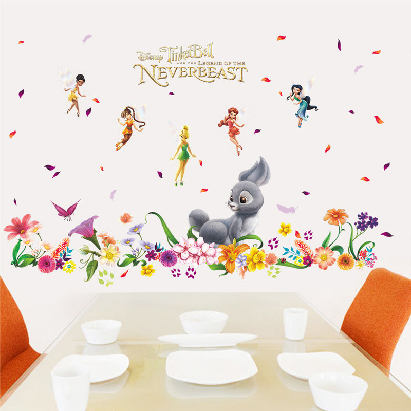 HOT 3D Romantic Flower Fairy Rabbit Butterfly Wall Stickers Home Decor For Kids  Rooms Living Room Bedroom Nursery PVC Girl Gifts