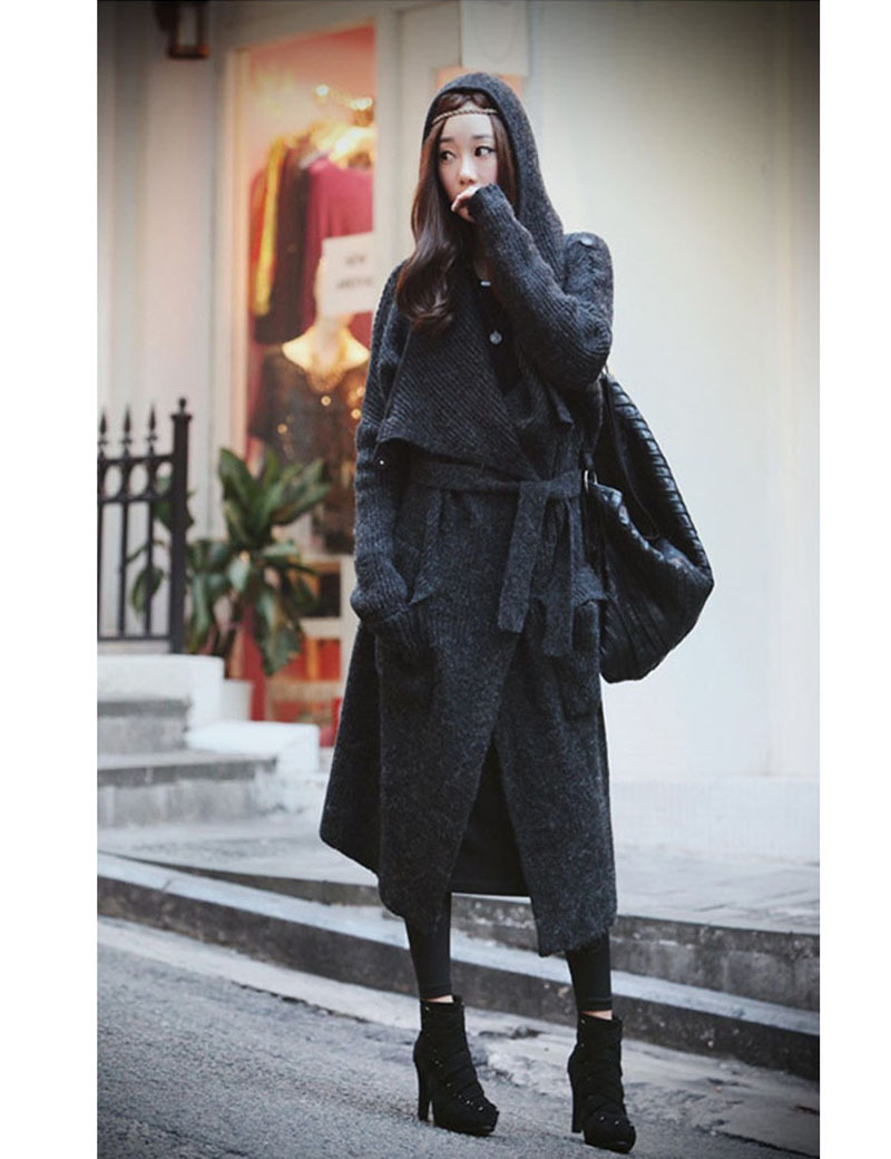 Fashion Women X Long Wool Sweater Coat With Blet,Big Trun Down ...