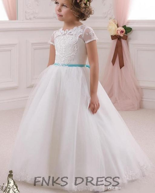 78be5ba8e3 2016 Pretty White Flower Girls Dresses for Weddings Turquoise Bow Sash Ball Gown  Lace Kids Pageant