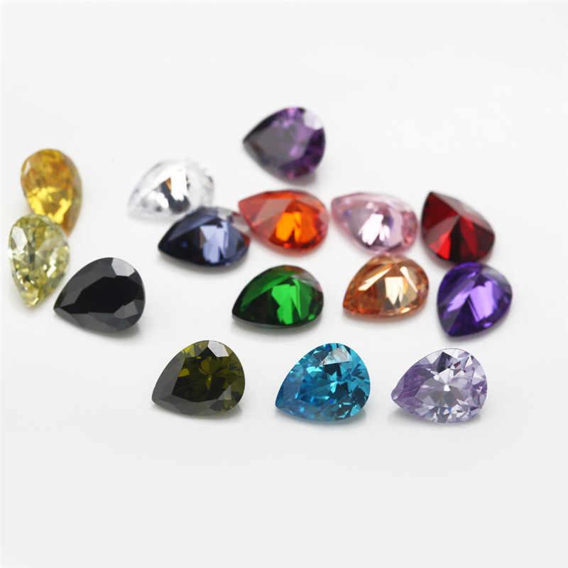 "1 PCS לכל צבעים סה""כ 15 pcs גודל 4x6mm ~ 10x12mm אגס צורת רופף מעוקב Zirconia אבן CZ"