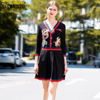 Svoryxiu Fashion Designer Autumn Dress Women's High Quality Butterfly Angel Embroidery Appliques Sexy V Neck Party Short Dress