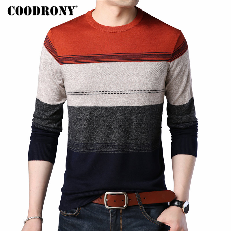 COODRONY Sweater Men Winter Shirts Clothing Pull O-Neck Homme Autumn Plus-Size Casual