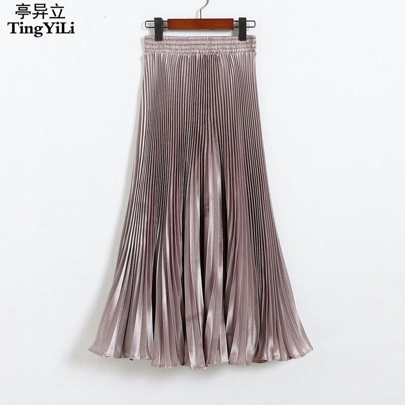 12 Colors Long Pleated Skirts European Style Fashion Summer Long Skirts Womens Black White Gold Purple Green Silver Maxi Skirt gown