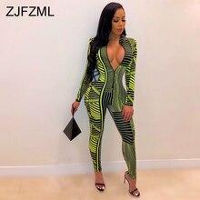 Neon Green Stripe Sexy Skinny Jumpsuit Women Deep V Neck Long Sleeve Bodycon Bodysuit  Streetwear Front Zipper Club Party Romper недорого