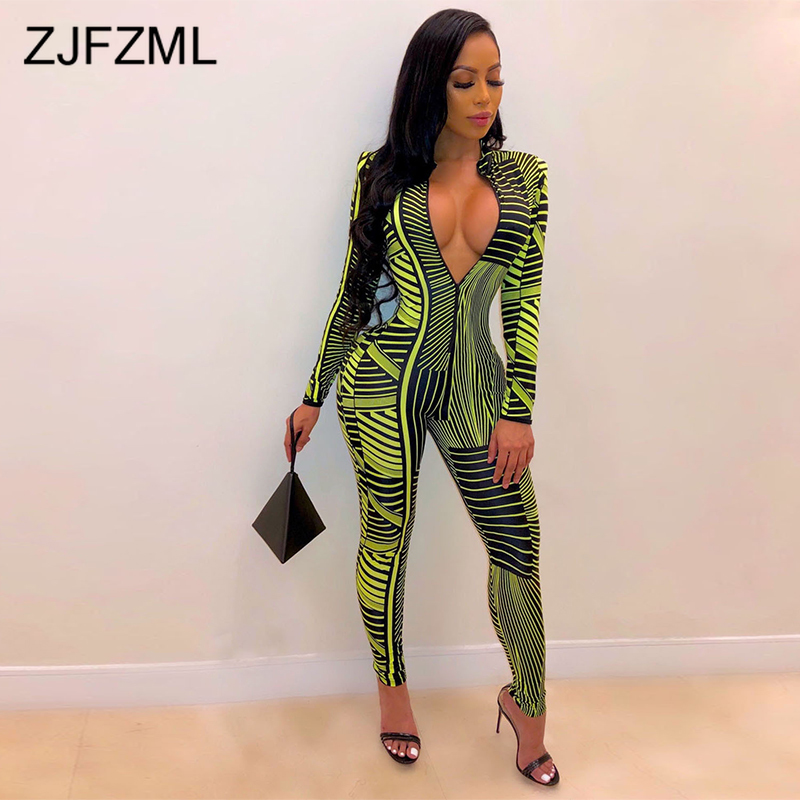 Neon Green Stripe Sexy Skinny   Jumpsuit   Women Deep V Neck Long Sleeve Bodycon Bodysuit Streetwear Front Zipper Club Party Romper