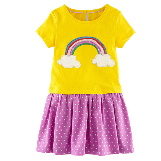 d6037a8c8 Kidsalon Princess Dress Children Clothing Cotton Rainbow Toddler Girl  Dresses Robe Fille Summer Baby Girl Clothes Kids Dress