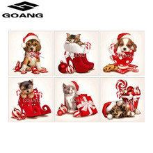 GOANG Animal cat and dog 5D DIY Diamond Painting Cross Stitch Embroidery Wedding Decoration Square Drill Christmas Gift