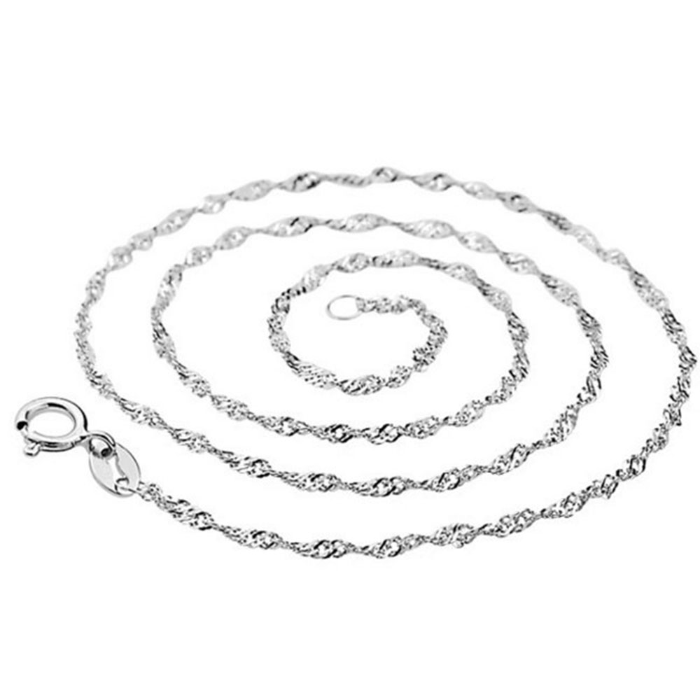 Authentic 925 Sterling Silver Necklaces Basis Water Wave Chain Necklaces For Women Wedding Party Jewelry Gift