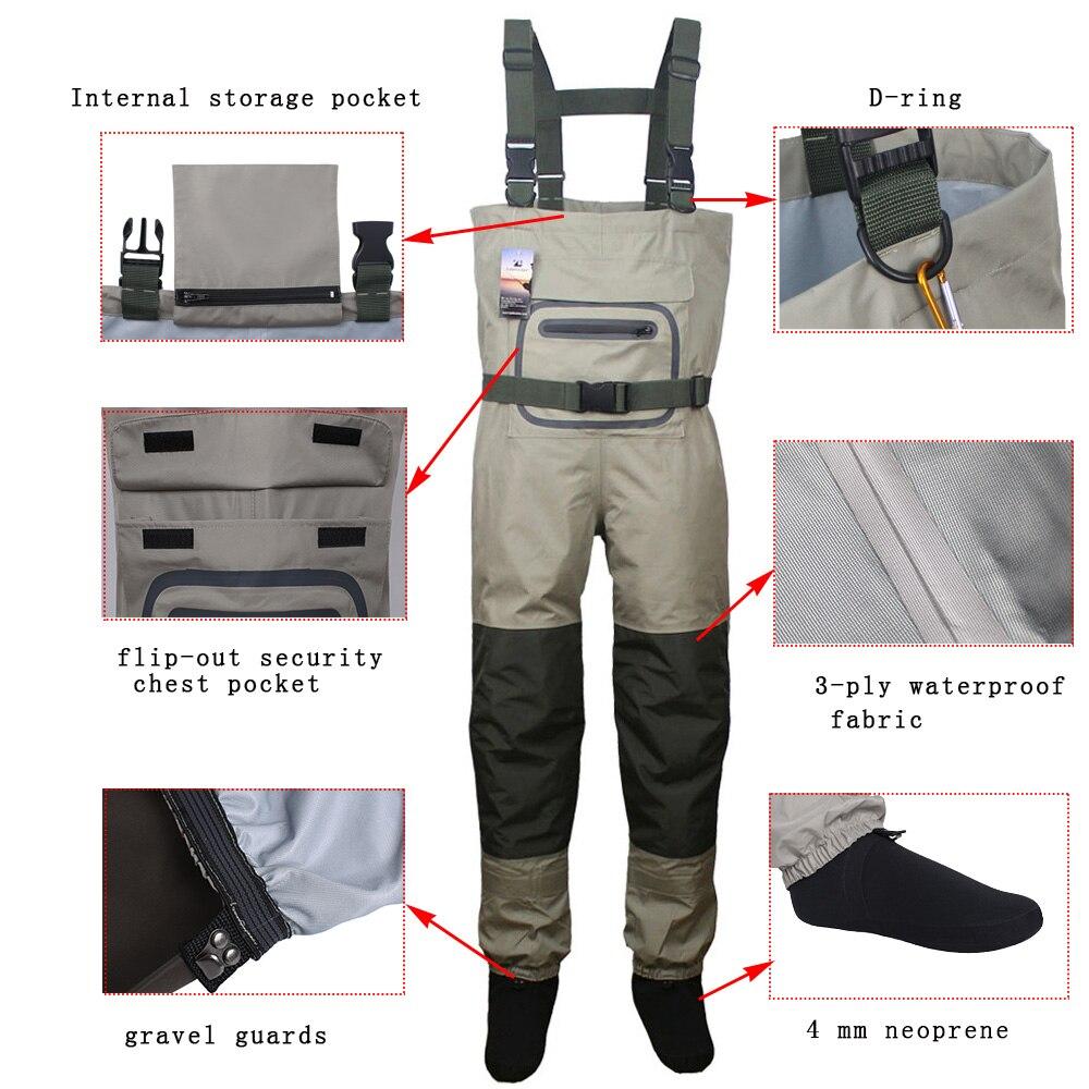 Erkek sinek balıkçı pantolonu avcılık balıkçı pantolonu açık nefes giyim Wading pantolon su geçirmez kıyafetleri tulum çorap ayak