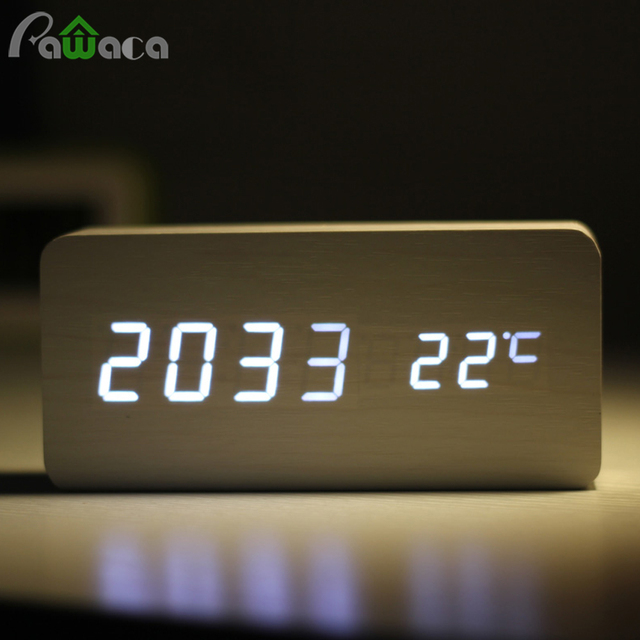 Alarm Unique Clocks Wood LED Light 4