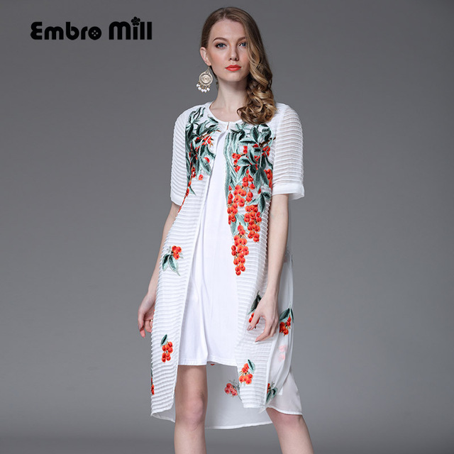 High end floral summer women trench coat dress loose ladies ...