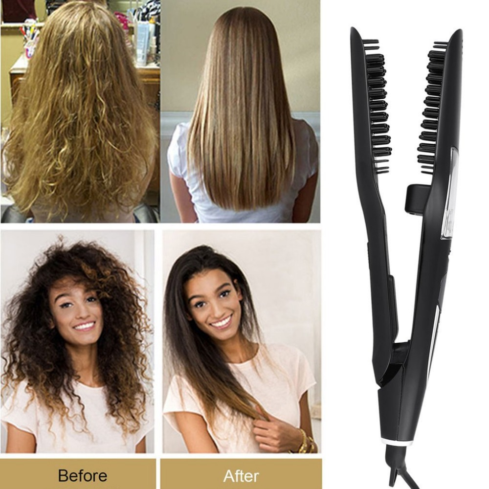 Hair comb eletric Salon Steam Styler Hair Straightener Dry Wet Professional Heater Hair Straightening Hair Care Tool combs madami steam wet