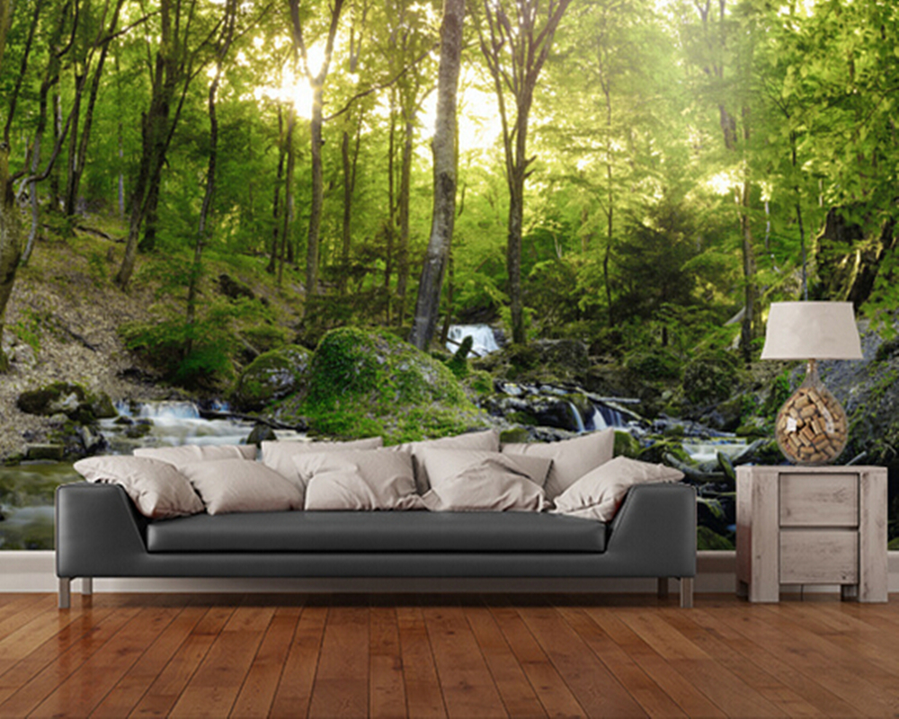 Custom wallpaper photo landscape. Forest Waterfall 3d wallpaper for living room bedroom wall waterproof PVC papel de parede custom 3d photo wallpaper waterfall landscape mural wall painting papel de parede living room desktop wallpaper walls 3d modern