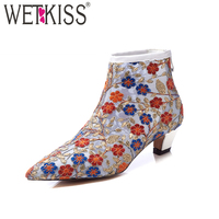WETKISS Embroider Spring Ankle Boots Women Fashion Thick Heels Zipper Ladies Shoes Pointed Toe Mesh Cow