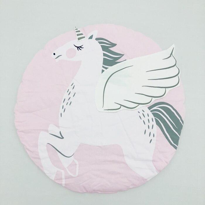 95 см детская игра коврики круглый коврик, мат хлопок Лебедь Ползания одеяло пол ковер для детской комнаты украшения INS подарки для малышей - Цвет: unicorn 90cm
