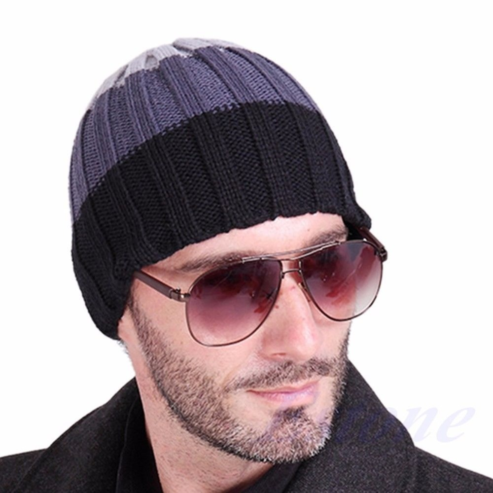 Fashion Women's Men's Hat Unisex Warm Winter Knit Cap Hiphop Beanie Hats Black hot winter beanie knit crochet ski hat plicate baggy oversized slouch unisex cap