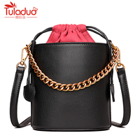 Chains Women Shoulder Bags High Quality Female Bucket Bag Large Capacity Genuine Leather Women Handbags Luxury