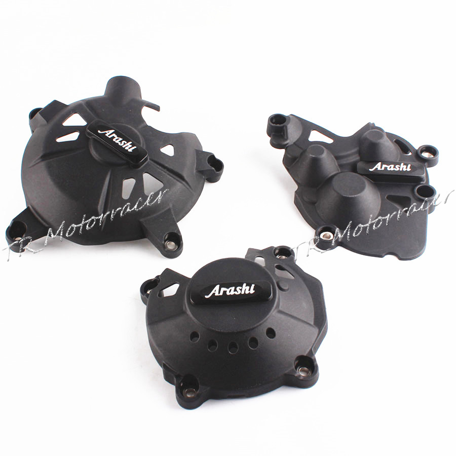 For Kawasaki Ninja ZX6R 08-16 Engine Stator Crank Case Cover Set Black ZX-6R 2009 2010 2012 2015 New motorcycles engine cover protection case for kawasaki zx 6r 636 2009 2012 10 11 new model