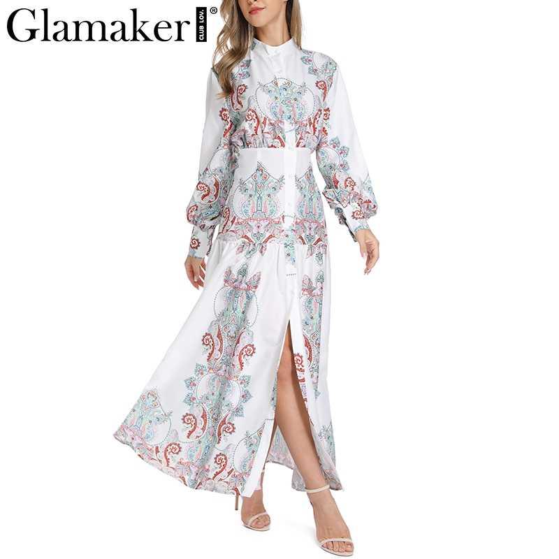 Glamaker белое платье с принтом пейсли элегантное винтажное женское платье сексуальное Бохо Макси летнее пляжное платье сплит длинное Повседневное платье festa