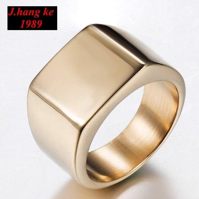 3ad16e11afce J.K marca joyería negro plata oro Color hombres mujeres anillos de acero  inoxidable clásico Simple