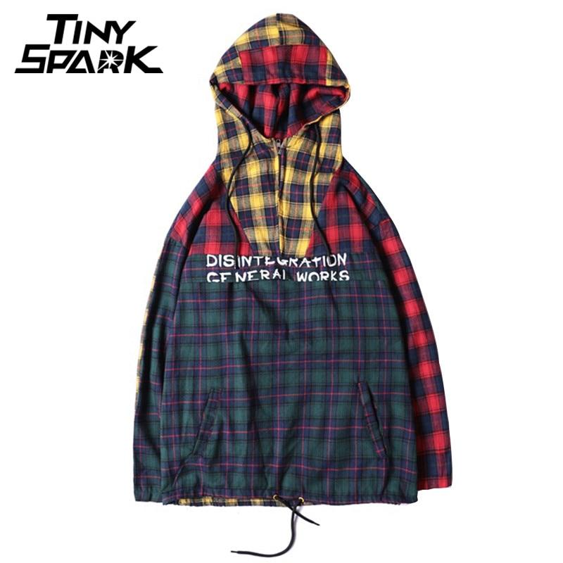 Patchwork Pullover Plaid Long Sleeve Hoodies Shirts Mens Hip Hop Zipper Pocket Casual Shirts Fashion Streetwear 2018 Sweatshirt