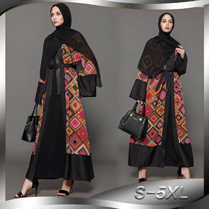 Muslim Abaya Print Maxi Dress Cardigan Kimono Long Robe Gowns Loose Style Tunic Musulmane Dubai Middle East Islamic Clothing