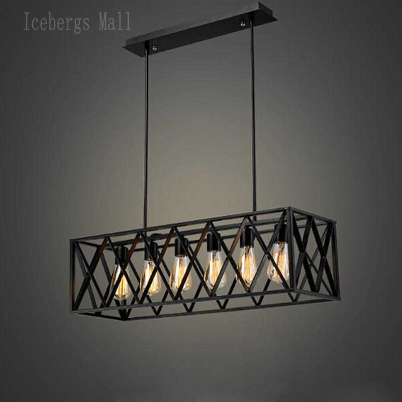 Vintage Wrought iron Pendant Light Industrial Edison Lamp American Style Fixture RH Loft Coffee Bar Restaurant Dinning  Lights american country industrial vintage loft style wrought iron 3 head pendant light restaurant coffee shop retro lamp free shipping