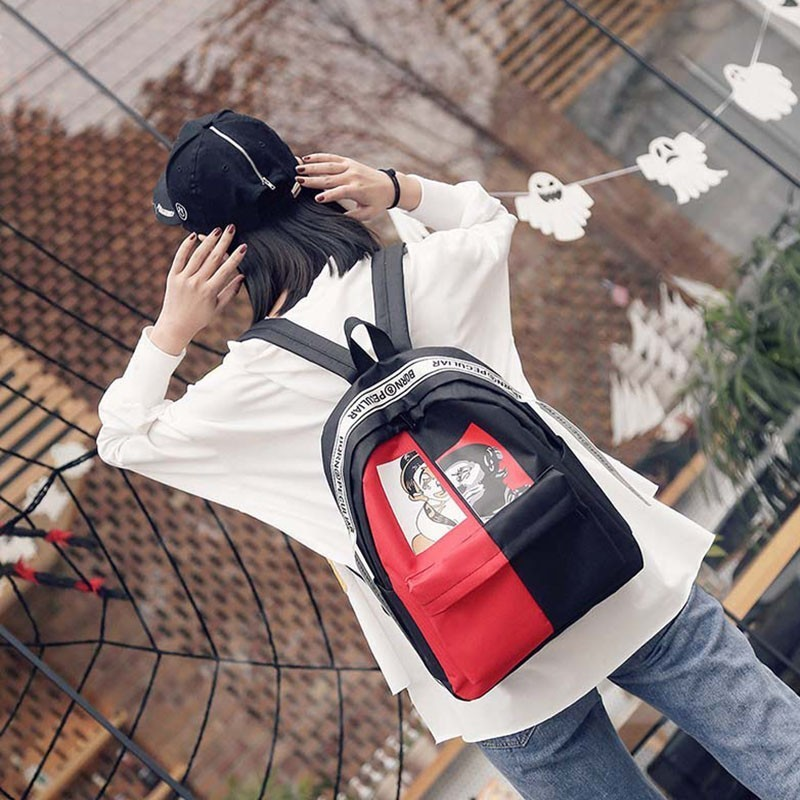 Female Cool Panelled Nylon Backpack Bag Woman Teenagers Backpacks Student Schoolbags Fashion Campus Male Designers Back Pack