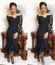 Black Tea Length Prom Dresses 2019 South African Long Sleeves Mermaid Evening dress off the shoulder Formal gown robe de soiree black off the shoulder long sleeves dresses