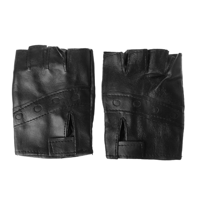 Men Unisex Artificial Leather Half-Finger Gloves Theatrical Punk Hip-Hop Driving Motorcycle Performance Party Fingerless Mittens