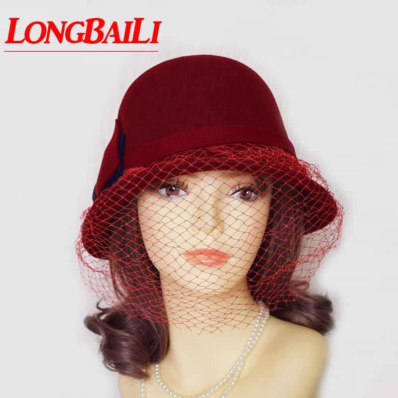 2b29a66feaf3ea ... Winter Vintage Bow Wool Felt Bucket Hats For Women Ladies Net Cloche  Hats Female Chapeau Free ...