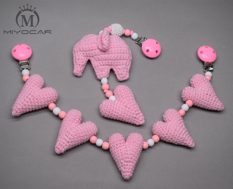 MIYOCAR Handmade Wood Clip Pink Heart And Elephant Stroller Toy Chain For Pram Stroller Mobile Rattle Wooden Bead Crochet