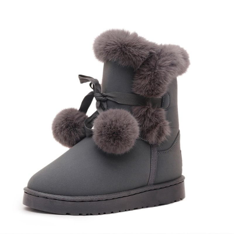 CX07 Women butterfly Snow Boots Platform Winter mid calf boots Flat fur Ball Furry Warm Plush Boots Women Fashion Shoes mid calf shoes muffin slip on casual women boots winter 2017 snow furry flat fur black new chinese female ladies fashion