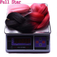 Full Star Synthetic Black Ombre Purple Box Braids 24 100g 5 Pcs High Temperature Fiber Jumbo