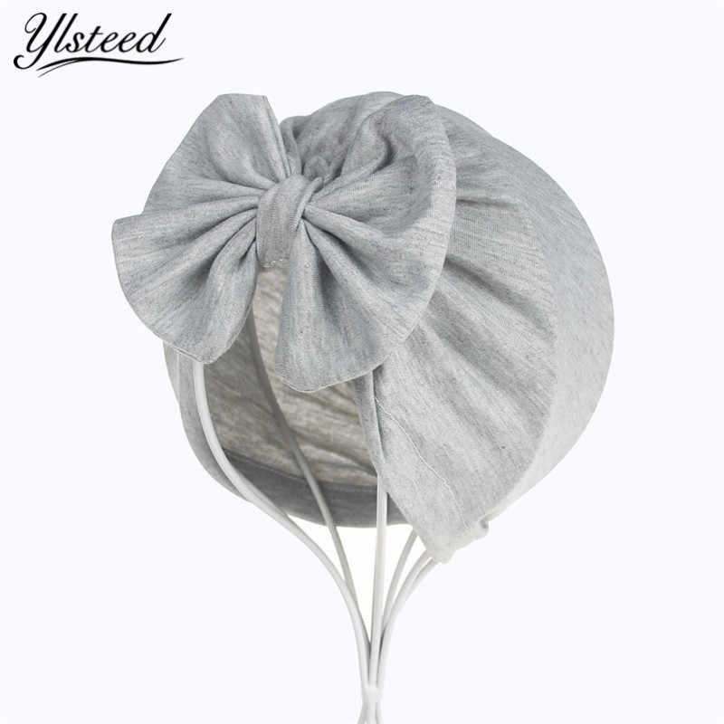 251352ac9d0 Baby Bowknot Turban Hat Infant Solid Color Cotton Beanies Toddler Spring Cap  Baby Girls Boys Topknot