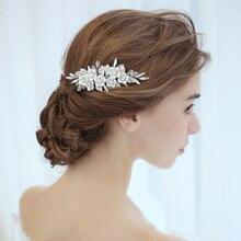 Dower me Silver Flower Headdress Bridal Hair Comb Crystal Wedding Hair Piece Jewelry Women tiara crown