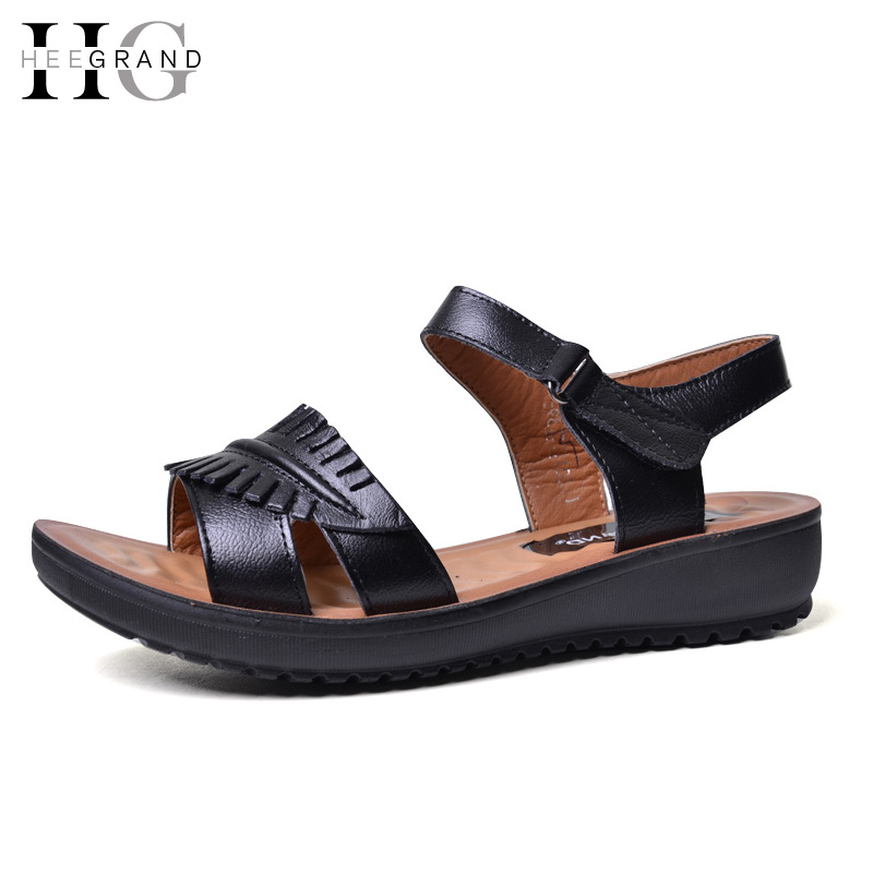 HEE GRAND 2017 Leather Gladiator Sandals Comfort Creepers Platform Casual Shoes Woman Summer Style Mother Women Shoes XWD5583 choudory bohemia women genuine leather summer sandals casual platform wedge shoes woman fringed gladiator sandal creepers wedges