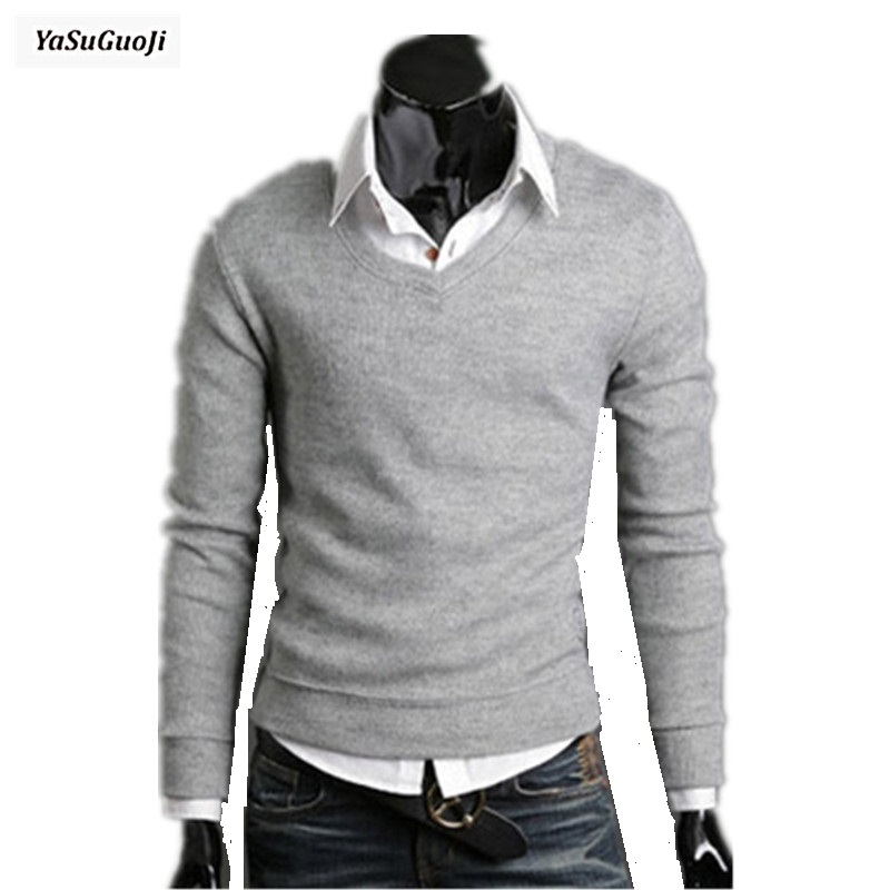 YASUGUOJI New 2019 Autumn Solid Color  V-neck Casual Sweater Men Slim Fit Basic Pullover Men Pull Homme Size M-2xl 7-colors TTS1