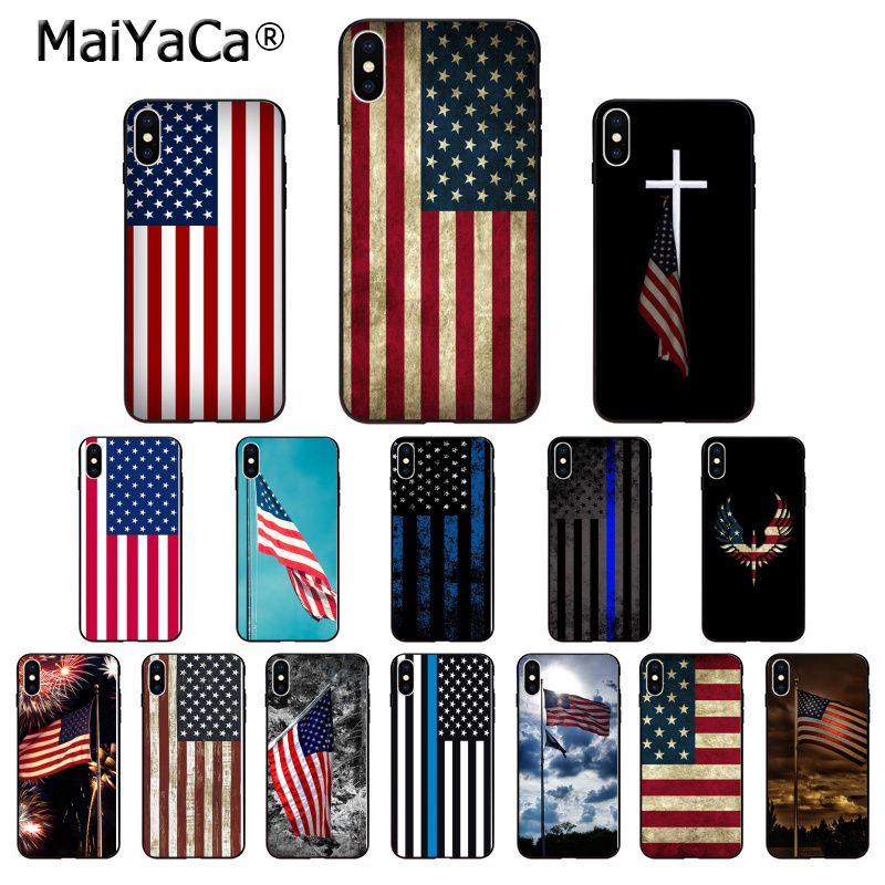 MaiYaCa American USA Flag TPU Soft Phone Accessories Phone Case for Apple iPhone 8 7 6 6S Plus X XS MAX 5 5S SE XR Mobile Cover