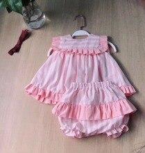 2 adet kız yaz pembe elbise seti sevimli İngiltere avrupa çizgili elbise Vintage İspanyol elbise bebek kız 100% kaliteli pamuk